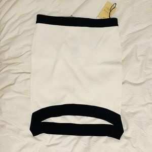 Torn by Ronny Kobo white thick Bodycon miniskirt